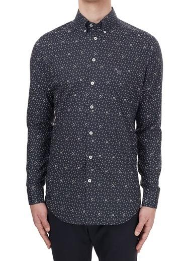 Etro  % 100 Pamuklu Düğmeli Yaka Desenli Slim Fit Gömlek Erkek Gömlek 1K964 3340 0200 Lacivert